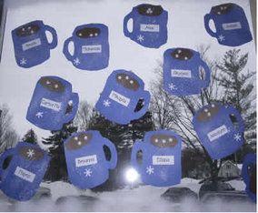 mug of hot chocolate quick winter craft for kids, January art for preschool, kindergarten and first graders