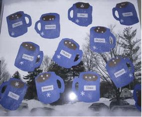 mug of hot chocolate quick winter craft for kids, January art for preschool, kindergarten and first graders