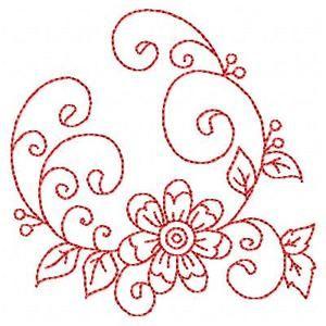 Redwork Florals - Free Instant Machine Embroidery Designs