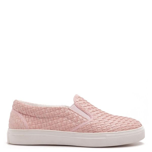 Pink slip-on sneakers with matte woven texture and white sole.