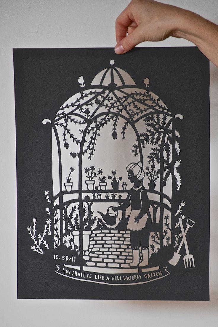 Thursday's Child custom papercut - garden theme