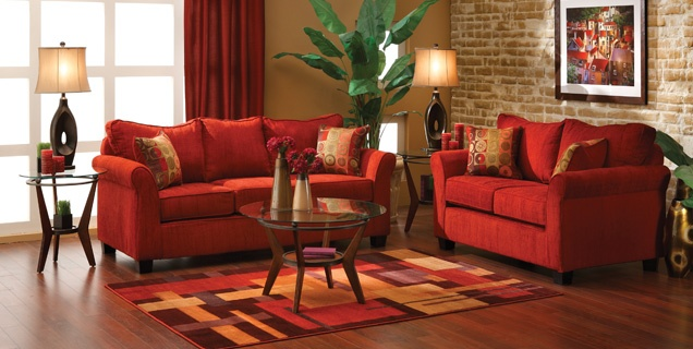 Living room RED!  Wish I had exposed brick.  I am in LOVE with Exposed Brick.