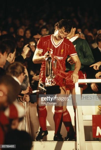 Liverpool captain Graeme Souness carrying the Milk Cup after they had defeated Everton 10 in the League Cup Final Replay sponsored by the Milk Marketing Board at Maine Road in Manchester 28th March...