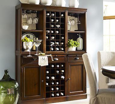6 Piece Modular Wall Unit 2 Wood Door Cabinet 1 Wine Grid Base Dining Room