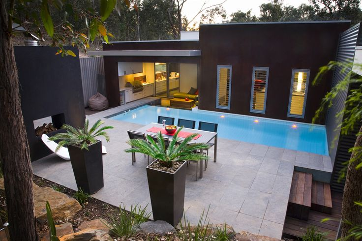 Alfresco Dining within contemporary Landscape Design at Warrandyte by TLC Pools & Landscapes