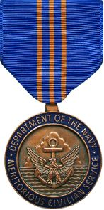 USA Navy Meritorious Civilian Service Award is awarded to civilian employees in the Department of the Navy for meritorious service or contributions resulting in high value or benefits for the Navy or the Marine Corps. It is conferred for a contribution that applies to a local or smaller area of operation or a project of lesser importance than would be warranted for consideration for the Navy Distinguished Civilian Service Award or the Navy Superior Civilian Service Award. The award is the…