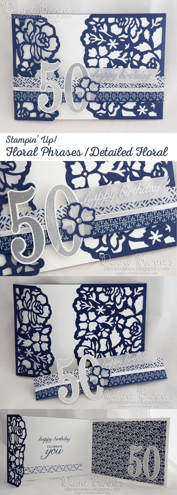 navy & white floral 50th birthday card using Stampin Up Floral Phrases / Detailed Floral bundle. 2016-17 annual catalogue. By Di Barnes…