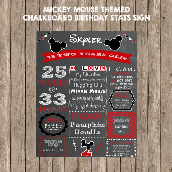 Mickey Mouse Chalkboard Birthday Stats Poster, digital printable file.