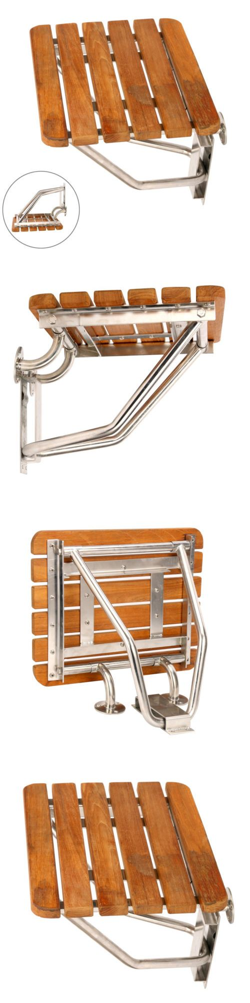 Transfer Boards and Benches: Wall Mounted Folding Teak Shower Transfer Bench Seat Stool -> BUY IT NOW ONLY: $59.99 on eBay!