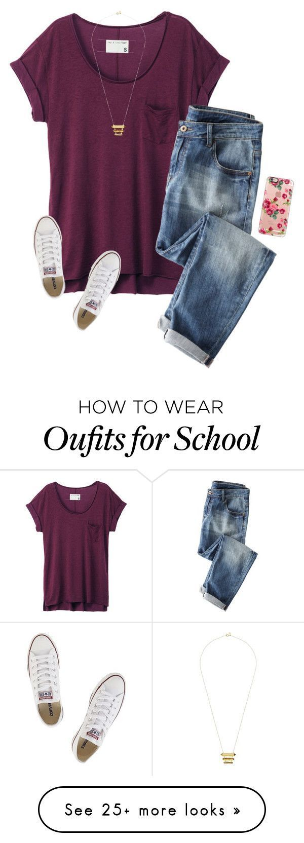 """""""We get to go to a play today at school!☺️"""" by savanahe on Polyvore featuring rag & bone, Wrap, Casetify, Converse and Gorjana"""