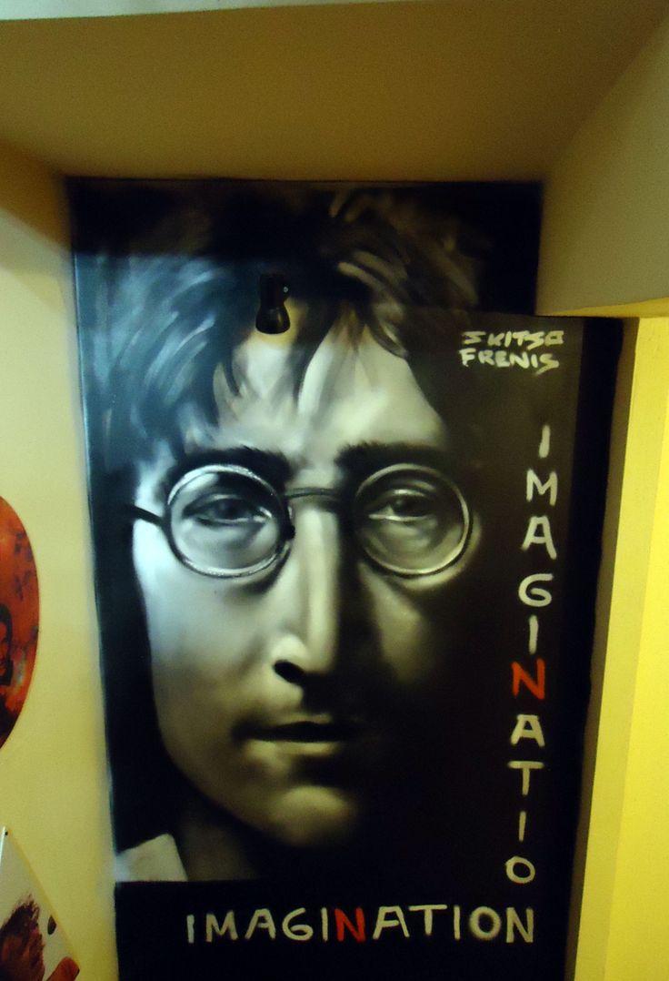 John Lennon graffiti -streetart portrait at Kyttaro rock bar , Kalamata , Greece - Artist - Skitsofrenis
