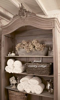 Monochromatic shabby chic off white, white and beige-- FRENCH COUNTRY COTTAGE: FRENCH COTTAGE BATH