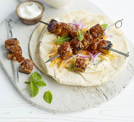 Harissa aubergine kebabs with minty carrot salad