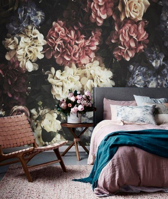 Dark Floral Mural Wallpaper Remove Peel And Stick Wallpaper Etsy Large Floral Wallpaper Vintage Floral Wallpapers Mural