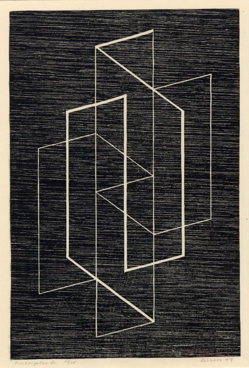 'Multiplex A' (1947) by German-born American artist & Bauhaus master Josef Albers (1888-1976) Woodcut, 16.5 x 12.5 on. via the albers foundation
