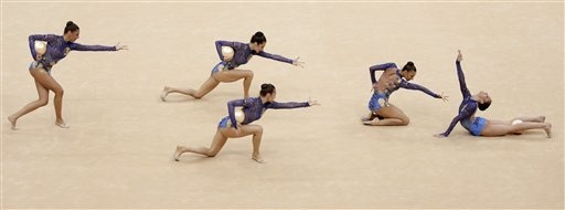 London Olympics Rhythmic Gymnastics  August 9  The team from Bulgaria performs during the rhythmic gymnastics group all-around qualifications at at the 2012 Summer Olympics, Thursday, Aug. 9, 2012, in London. (AP Photo/Julie Jacobson)(AP Photo/Gregory Bull)    Read more: http://sportsillustrated.cnn.com//olympics/2012/photos/wires/gymnastics/20120809/content.7.html#ixzz23OxBK7WD