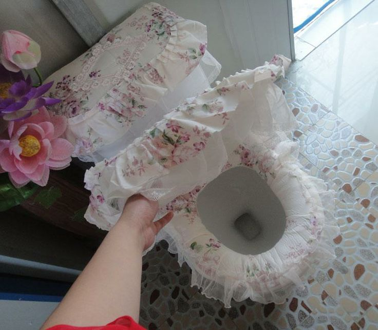 Lace And Ruffled Comode Bathroom Covers Toilet Seat