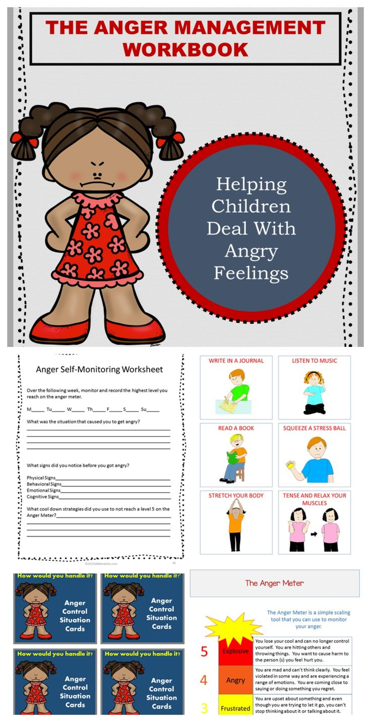 Anger management workbook for children.  Teaches children about anger triggers, how to recognize feelings of anger, appropriate ways to cool down and positive ways to express their anger.