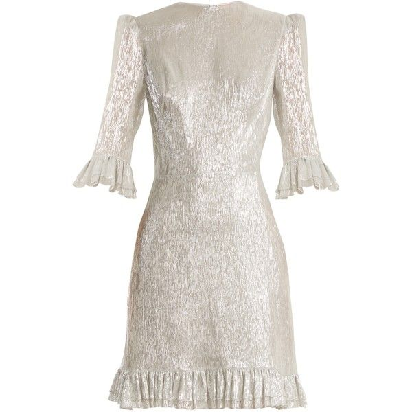 The Vampire's Wife Festival ruffle-trimmed silk-blend lamé dress ($1,676) ❤ liked on Polyvore featuring dresses, silver, mini party dresses, short white dresses, white going out dresses, white dresses and ruffle dress