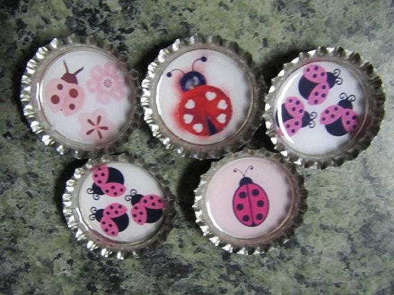 5 finished ladybug bottle caps by lovinmylovebug on Etsy, $4.00