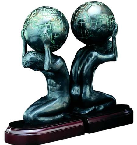 Greek Atlas With Globe Bookends Greek And Roman Statues