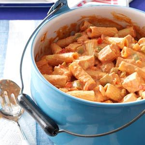Chicken Riggies Recipe Featured in a Taste of Home from Utica Native Jackie Scanlan.  Rigatoni cooked with cream and cream cheese spells comfort when combined with chicken marinated in sherry and garlic.
