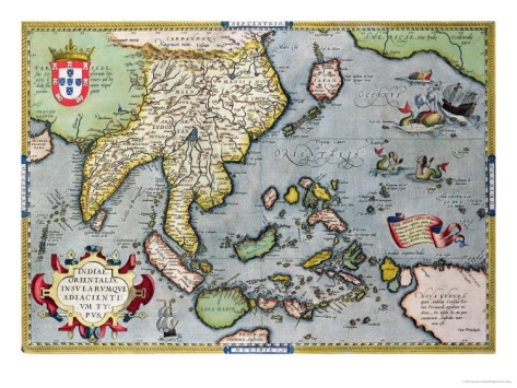 Map of India to New Guinea, circa 1570-1603 Giclee Print by Abraham Ortelius