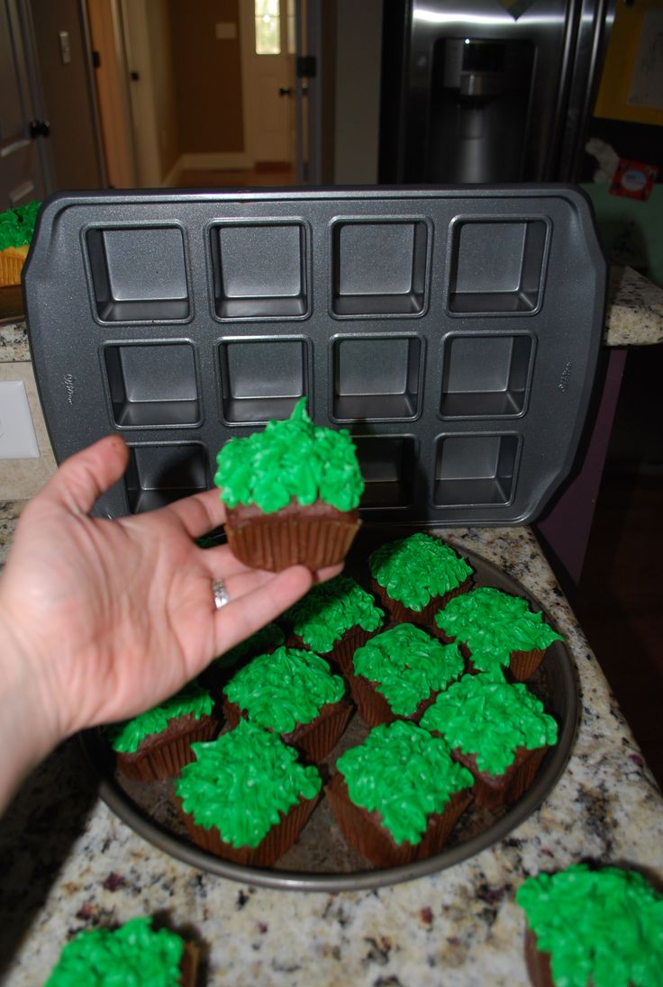 Minecraft Square Cupcakes! A no-brainer for an awesome Minecraft Birthday! Just use a square cupcake pan. I ordered online, but I was told Walmart has them as well.
