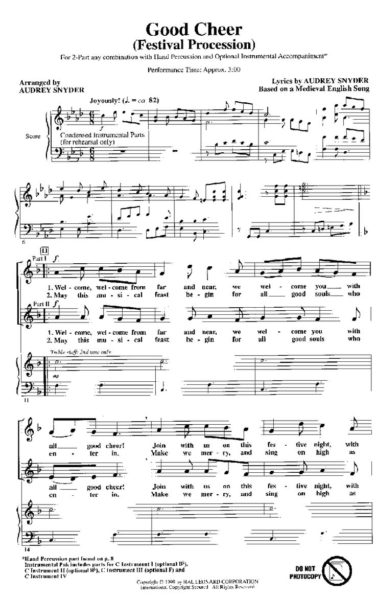 Good Cheer (Two-Part ) arr. Audrey Snyder| J.W. Pepper Sheet Music