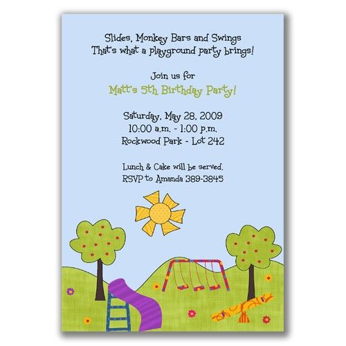 10 best playground birthday party images on pinterest playground playful playground birthday party invitations for kids filmwisefo Gallery