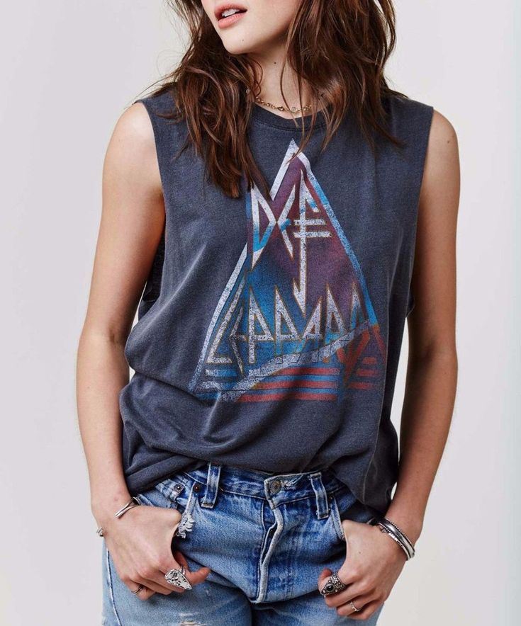 DAYDREAMER Sleeveless Limited Def Leppard Muscle Tank Top Tee Shirt Grey S M $82 #Daydreamer #TankCami #Casual