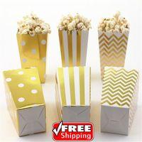 36 stücke Mix 3 Designs Metallic Goldfolie Gestreift Tupfen Chevron Papier Popcorn Boxen-Organza-hochzeitsfest-bevorzugungs-süßigkeit Snack Behandeln Boxen