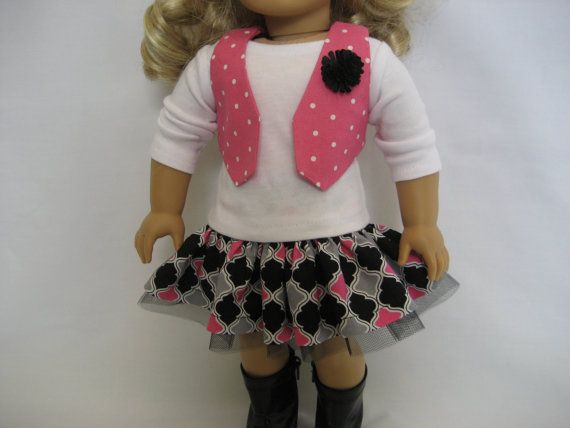 Hey, I found this really awesome Etsy listing at https://www.etsy.com/listing/179730406/american-girl-doll-clothes-black-gray