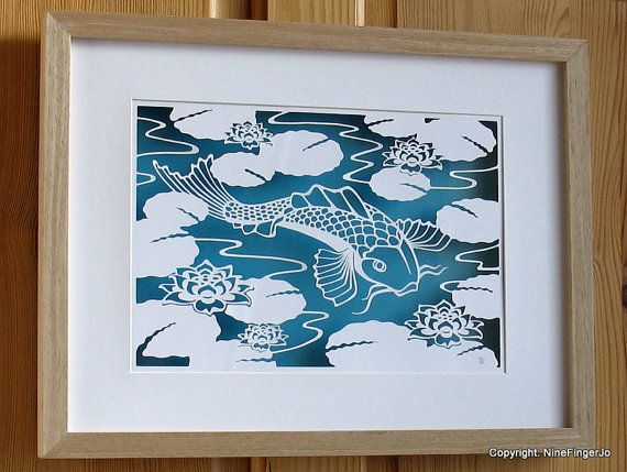 Wall Decoration By Paper Cutting : Papercut art a koi water lily papercutting by