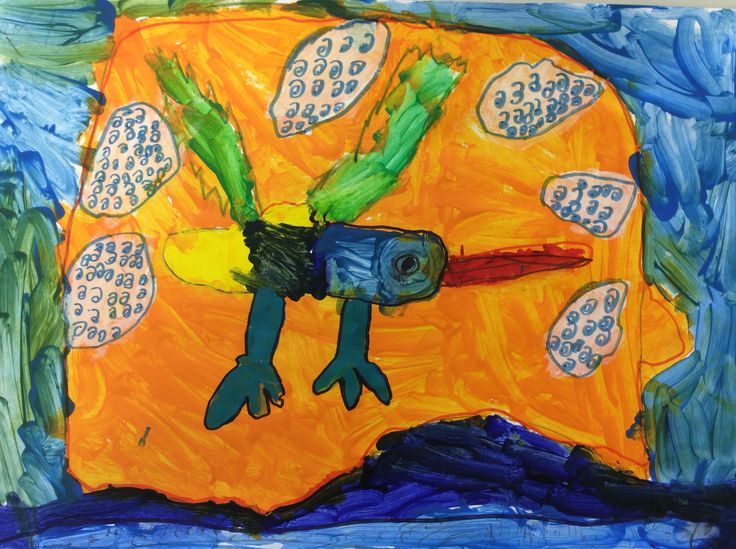 I love the clouds in this energetic painting by Coen in Room 14 Year 2. His best work to date.