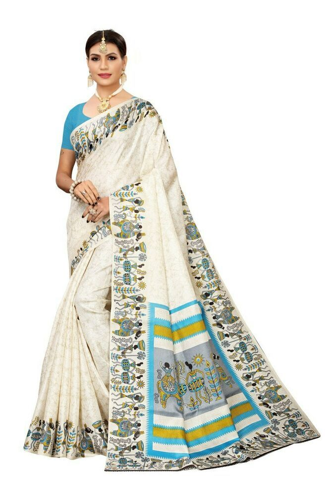 Red White Floral Printed Bollywood Saree Party Wear Ethnic Designer Sari SC