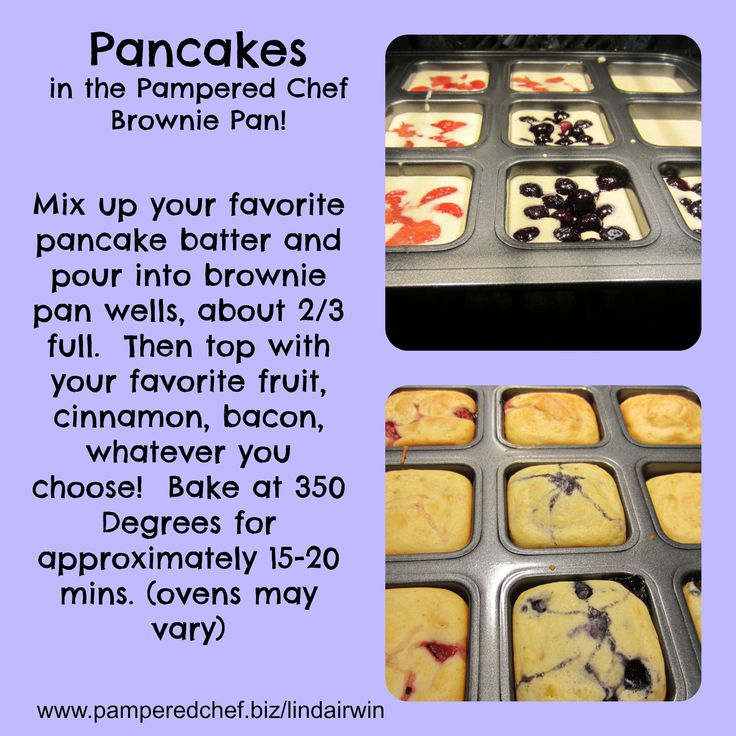 Make everyone in the family happy when you customize their pancakes! The Pampered Chef Brownie Pan #1544 $20.00 www.pamperedchef.biz/kaitlynsparley