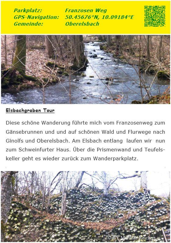 Diese schöne Wanderung führte mich vom Franzosenweg zum Gänsebrunnen und und auf schönen Wald und Flurwege nach Ginolfs und Oberelsbach. Am Elsbach entlang laufen wir nun zum Schweinfurter Haus und zur Prismenwand. Über den Teufelskeller ging es wieder zurück zum Wanderparkplatz.