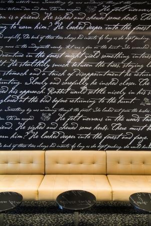 Beautiful cursive lettering on walls. Belair Hotel, Australia.