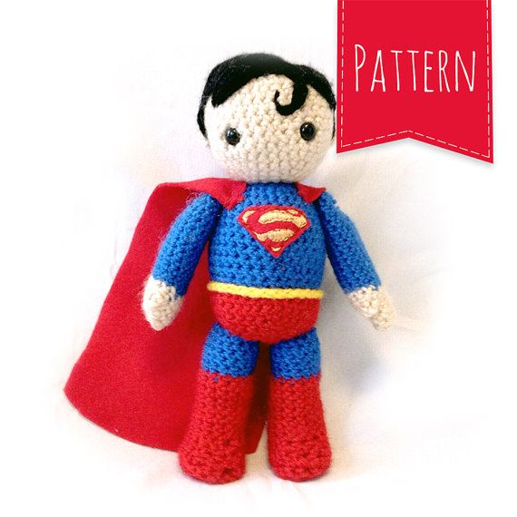 Free Amigurumi Superhero Patterns : Superman Crocheted Plush PATTERN Knit and Crochet ...