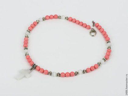 "Чокер ""Амено"" розовый коралл, агат - розовый,коралловые бусы,розовый коралл"