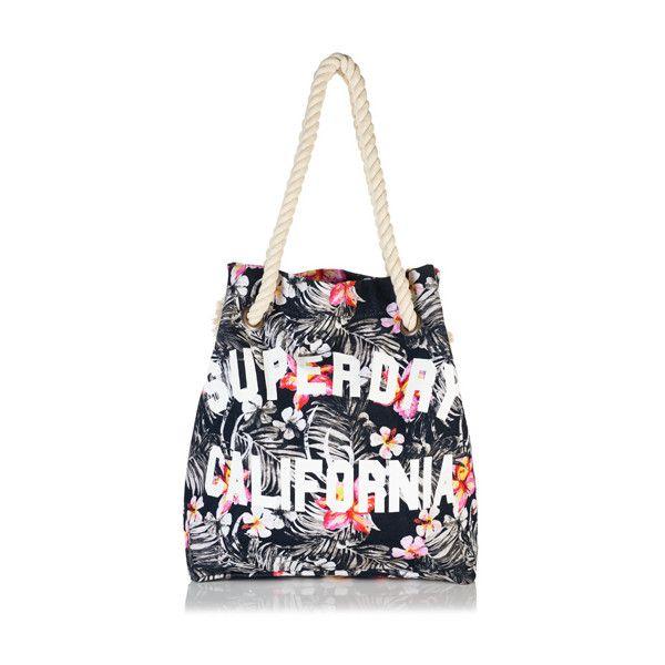 Superdry Summer Rope Tote Bag ($40) ❤ liked on Polyvore featuring bags, handbags, tote bags, black, zip pouch, handbags totes, zipper pouch, pattern tote bag and summer tote bags