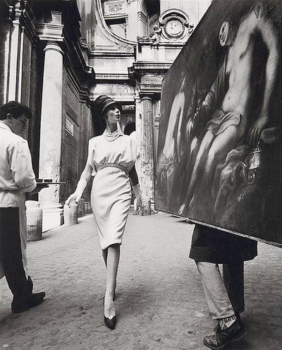 Simone D'Aillencourt in a dress by Fabiani  photo by William Klein, Rome 1962