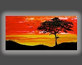 Landscape Sunset Silhouette Acacia Tree Kenya Red Yellow Black 24x48  Free Shipping