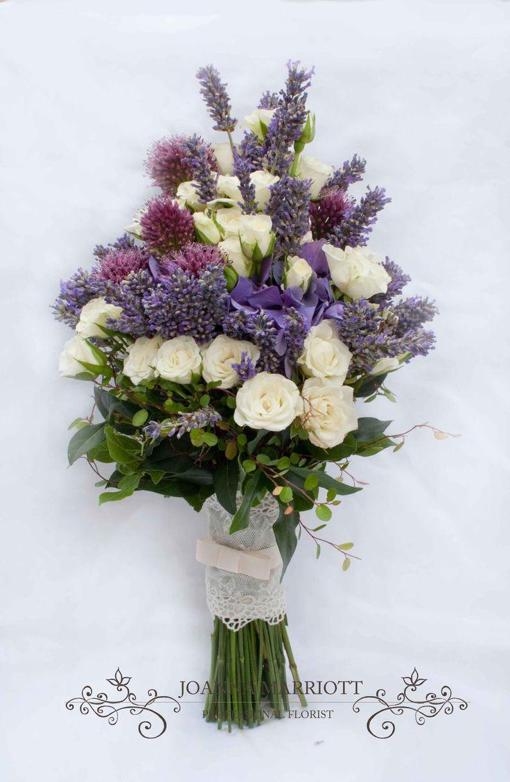 purple and cream bridal bouquet cream roses purple hydrangea alliums and lavender rustic. Black Bedroom Furniture Sets. Home Design Ideas