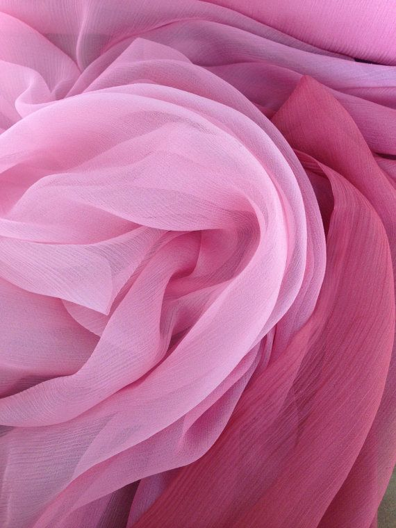 Crinkle Chiffon Silk Pink Ombr 233 Fabric By The Yard By