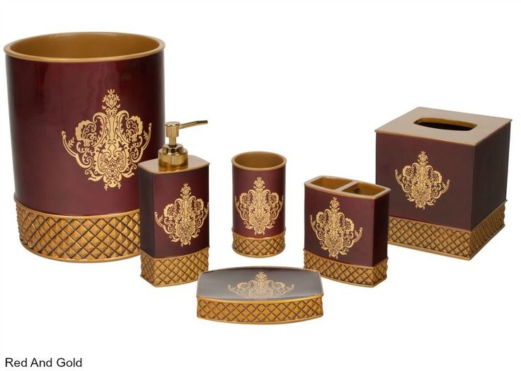 Victorian Bathroom Accessories Set 6 Pc Red Gilded Decor Elegant Luxury Bath  New Unbranded