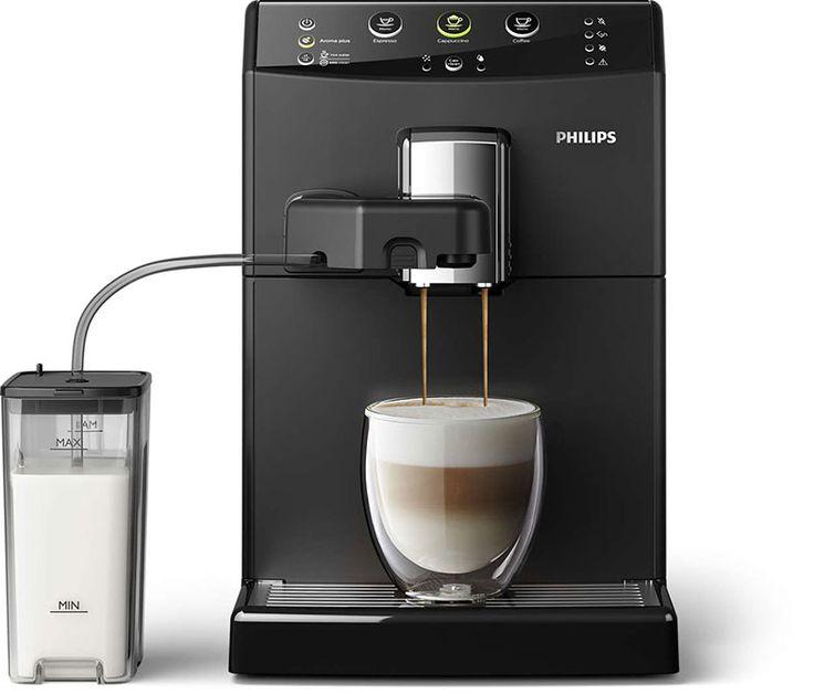Philips HD8829/01  Philips HD8829/01 3000 serie: Moderne koffiemachine met cappuccinosysteem Een zeer hygiënische en praktische volautomatische koffiemachine dat is de Philips HD8829/01. Bij iedere in- en uitschakeling wordt het koffiedoorloopsysteem gereinigd met water om er zeker van te zijn dat jij keer op keer de beste smaak koffie ervaart.Met Milk Clean reinig je ook na gebruik van de melkcontainer heel eenvoudig het melksysteem om volgende keer weer een perfecte cappuccino te maken.Het…