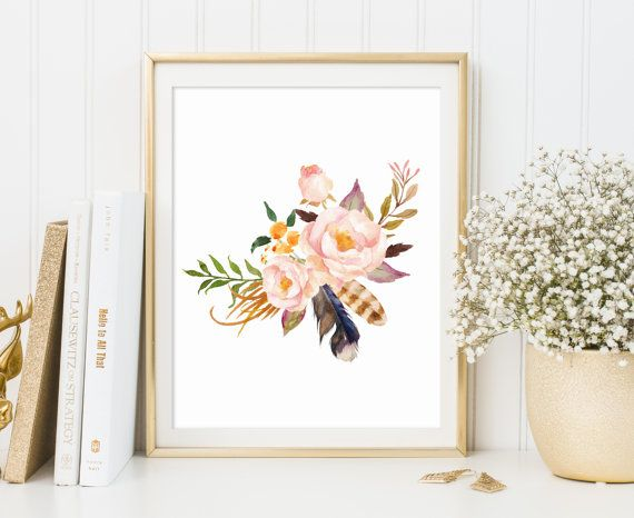 Floral Print floral wall art  Flower Print by ArtHomeBoutique