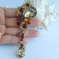 3.94 дюймов золото тон топаз горный хрусталь кристалл падение цветок брошь искусство украшения EE06587C5
